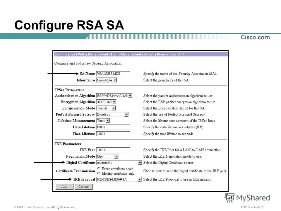 © 2003, Cisco Systems, Inc. All rights reserved. CSVPN 4.017-28 Configure RSA SA