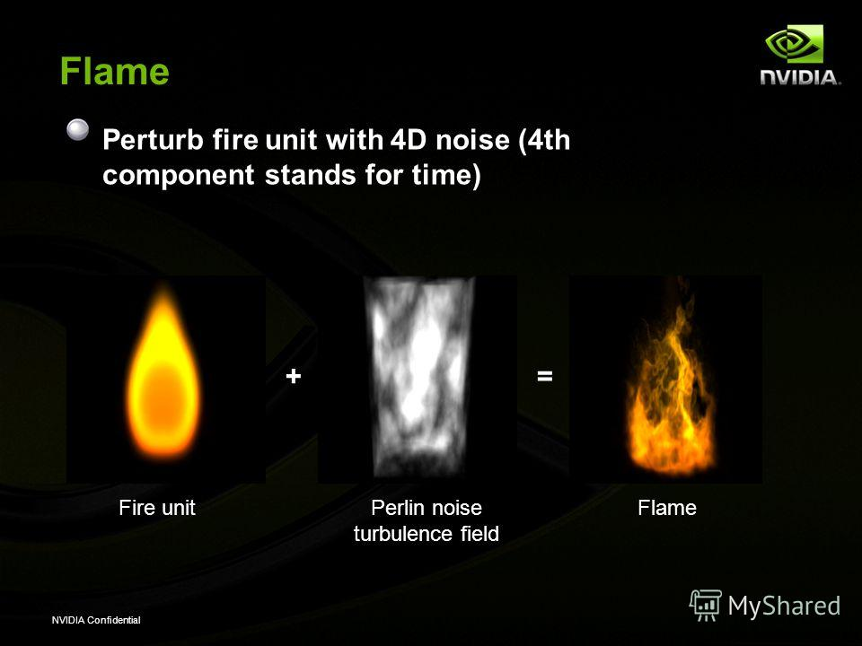 NVIDIA Confidential Flame Perturb fire unit with 4D noise (4th component stands for time) += Fire unitPerlin noise turbulence field Flame