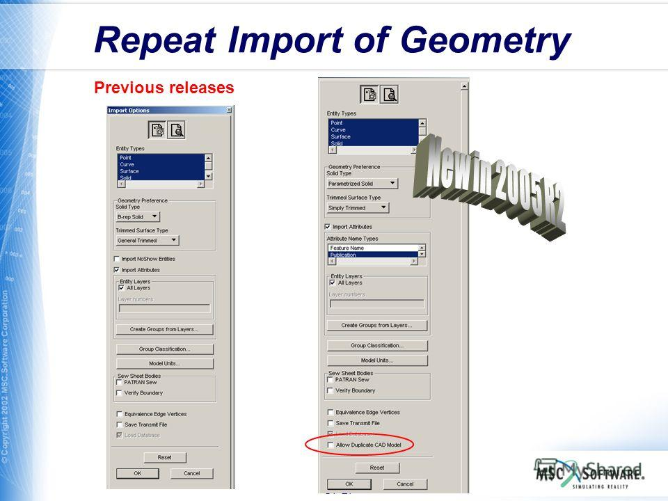 S7-27 Repeat Import of Geometry Previous releases