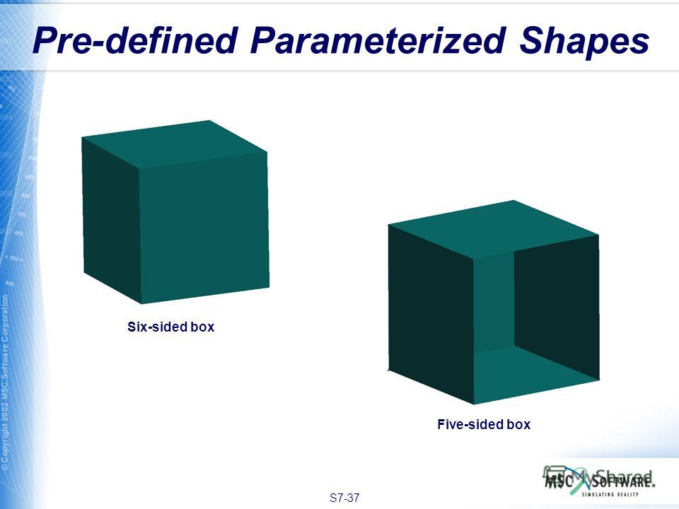 S7-37 Pre-defined Parameterized Shapes Six-sided box Five-sided box