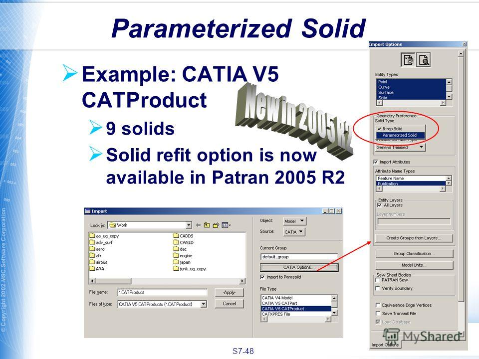 S7-48 Example: CATIA V5 CATProduct 9 solids Solid refit option is now available in Patran 2005 R2 Parameterized Solid