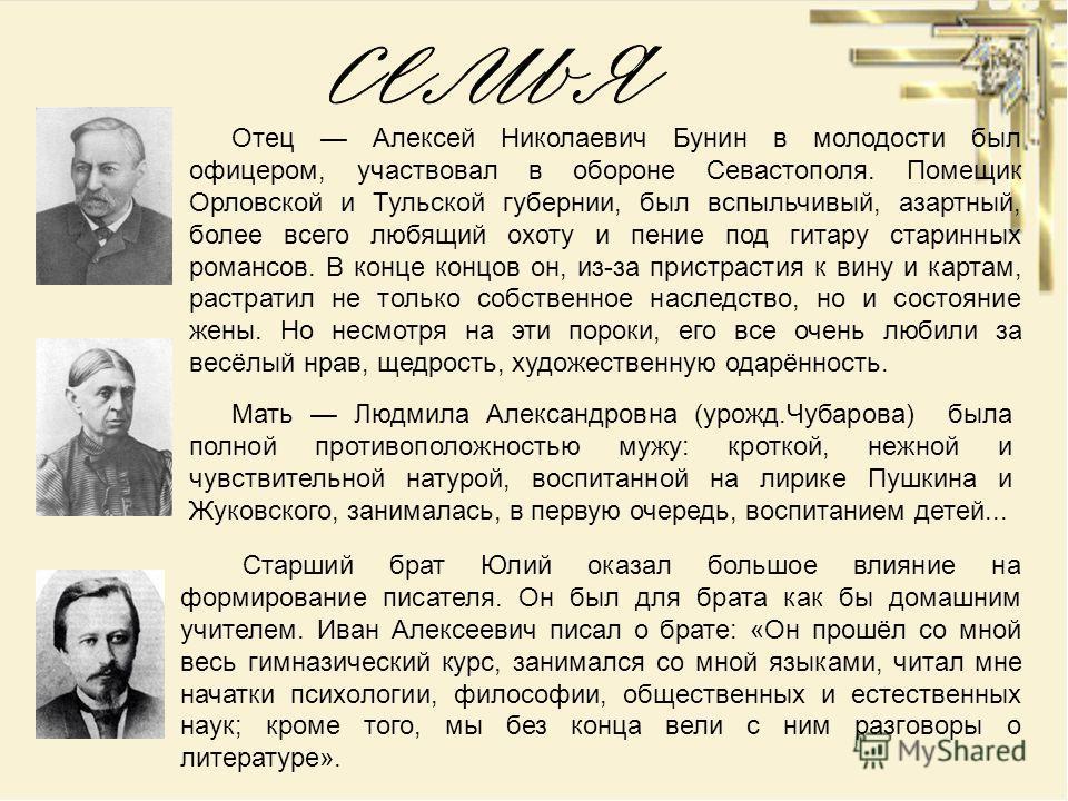 Отец Алексей Николаевич Бунин в молодости был офицером, участвовал в обороне Севастополя. Помещик Орловской и Тульской губернии, был вспыльчивый, азартный, более всего любящий охоту и пение под гитару старинных романсов. В конце концов он, из-за прис
