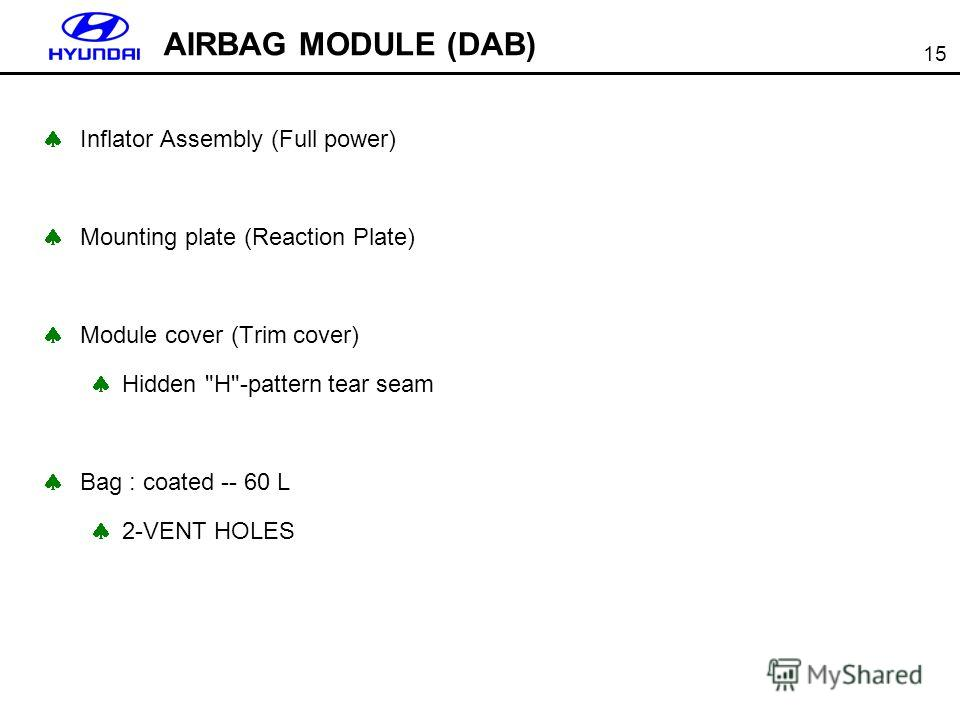 15 AIRBAG MODULE (DAB) Inflator Assembly (Full power) Mounting plate (Reaction Plate) Module cover (Trim cover) Hidden H-pattern tear seam Bag : coated -- 60 L 2-VENT HOLES
