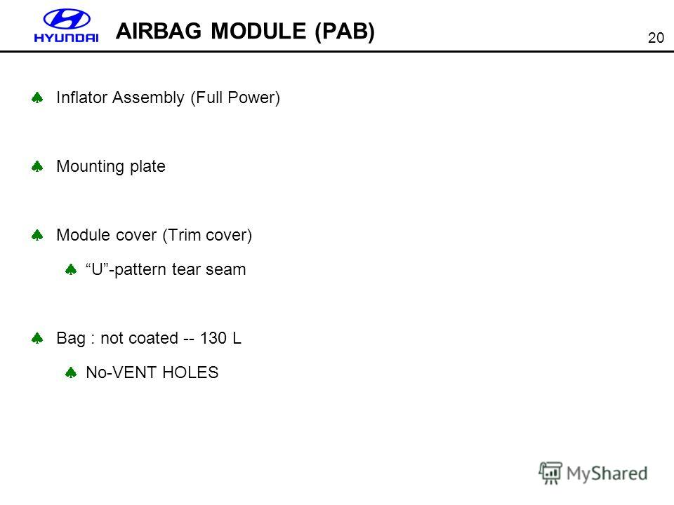 20 AIRBAG MODULE (PAB) Inflator Assembly (Full Power) Mounting plate Module cover (Trim cover) U-pattern tear seam Bag : not coated -- 130 L No-VENT HOLES