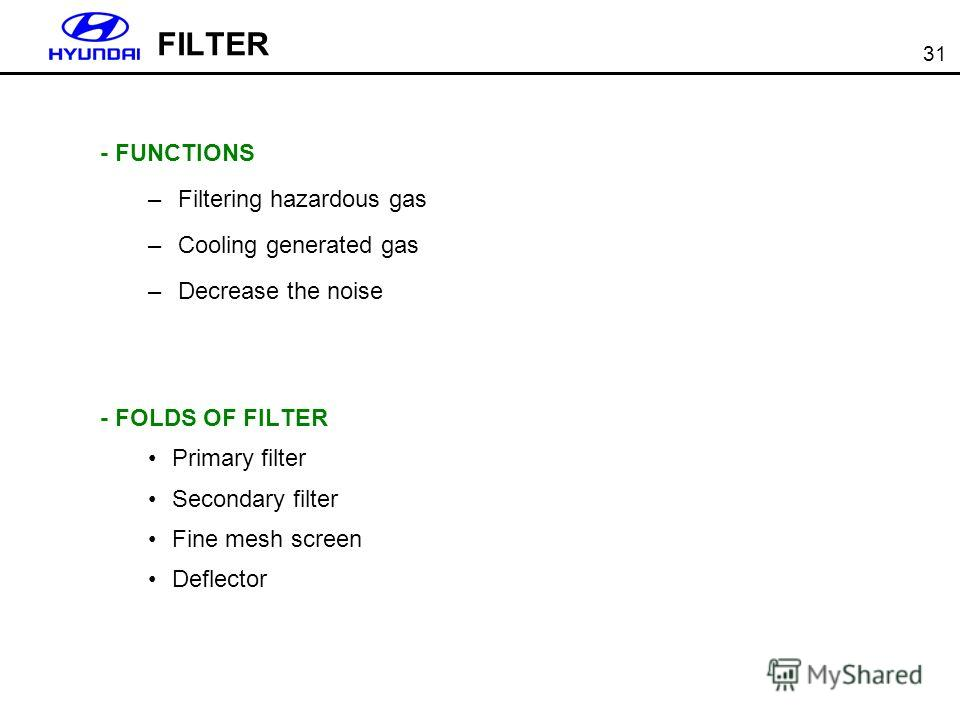 31 FILTER - FUNCTIONS –Filtering hazardous gas –Cooling generated gas –Decrease the noise - FOLDS OF FILTER Primary filter Secondary filter Fine mesh screen Deflector