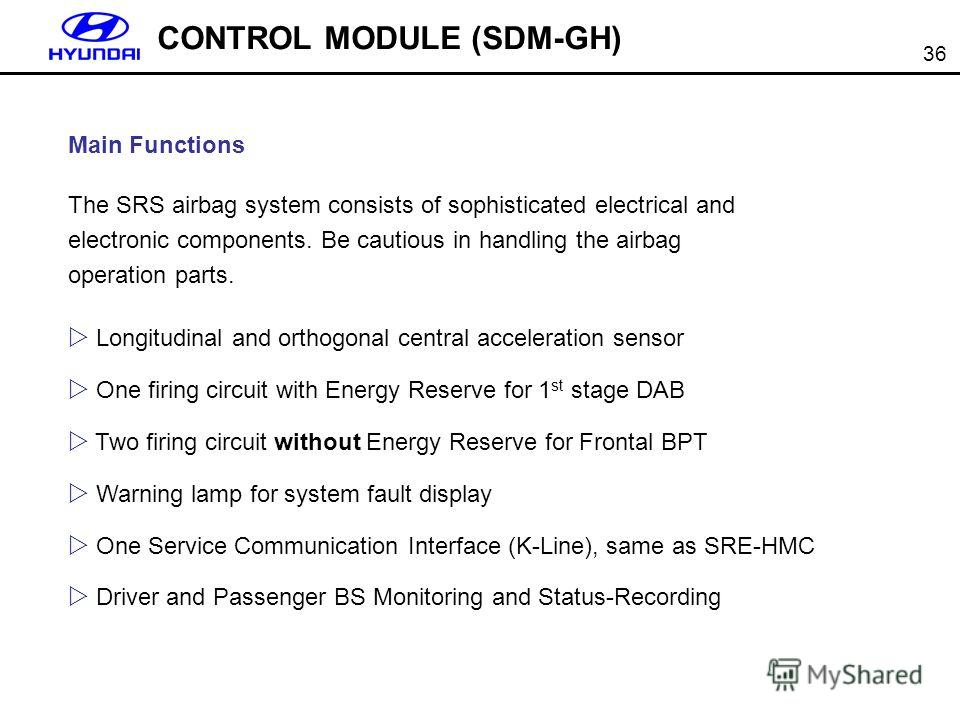 36 CONTROL MODULE (SDM-GH) Main Functions The SRS airbag system consists of sophisticated electrical and electronic components. Be cautious in handling the airbag operation parts. Longitudinal and orthogonal central acceleration sensor One firing cir