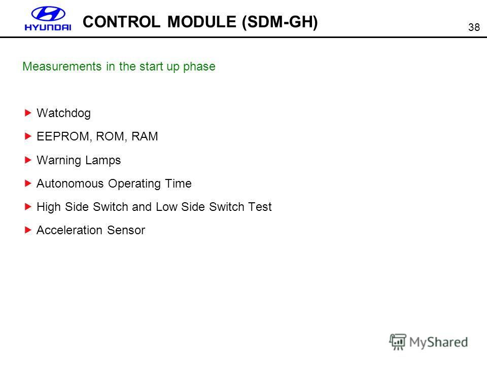 38 CONTROL MODULE (SDM-GH) Measurements in the start up phase Watchdog EEPROM, ROM, RAM Warning Lamps Autonomous Operating Time High Side Switch and Low Side Switch Test Acceleration Sensor
