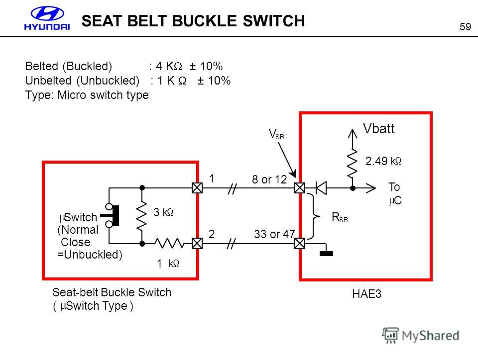 59 Belted (Buckled) : 4 K ± 10% Unbelted (Unbuckled) : 1 K ± 10% Type: Micro switch type SEAT BELT BUCKLE SWITCH
