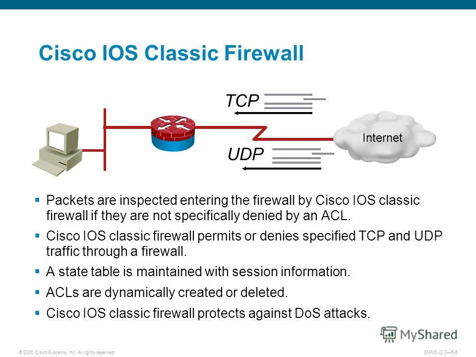 © 2006 Cisco Systems, Inc. All rights reserved.SNRS v2.05-5 Cisco IOS Classic Firewall Packets are inspected entering the firewall by Cisco IOS classic firewall if they are not specifically denied by an ACL. Cisco IOS classic firewall permits or deni
