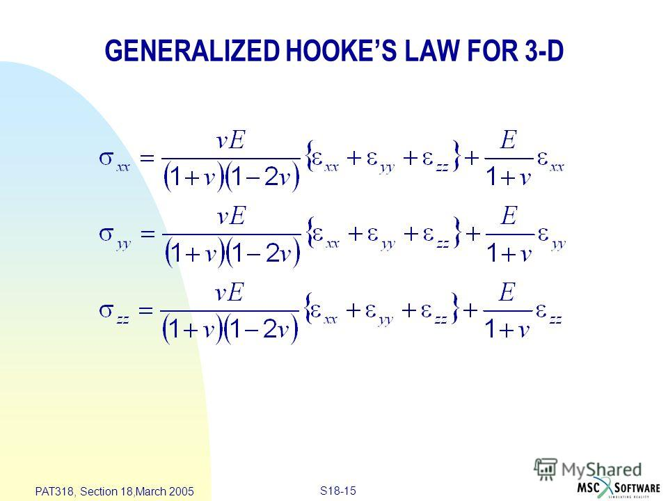 S18-15 PAT318, Section 18,March 2005 GENERALIZED HOOKES LAW FOR 3-D