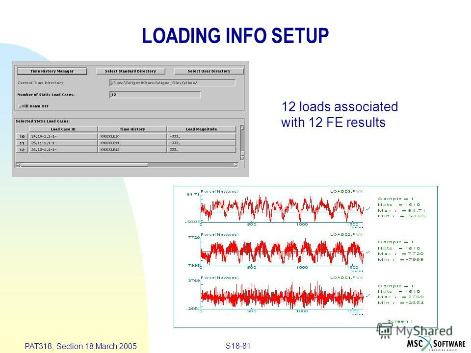 S18-81 PAT318, Section 18,March 2005 LOADING INFO SETUP 12 loads associated with 12 FE results