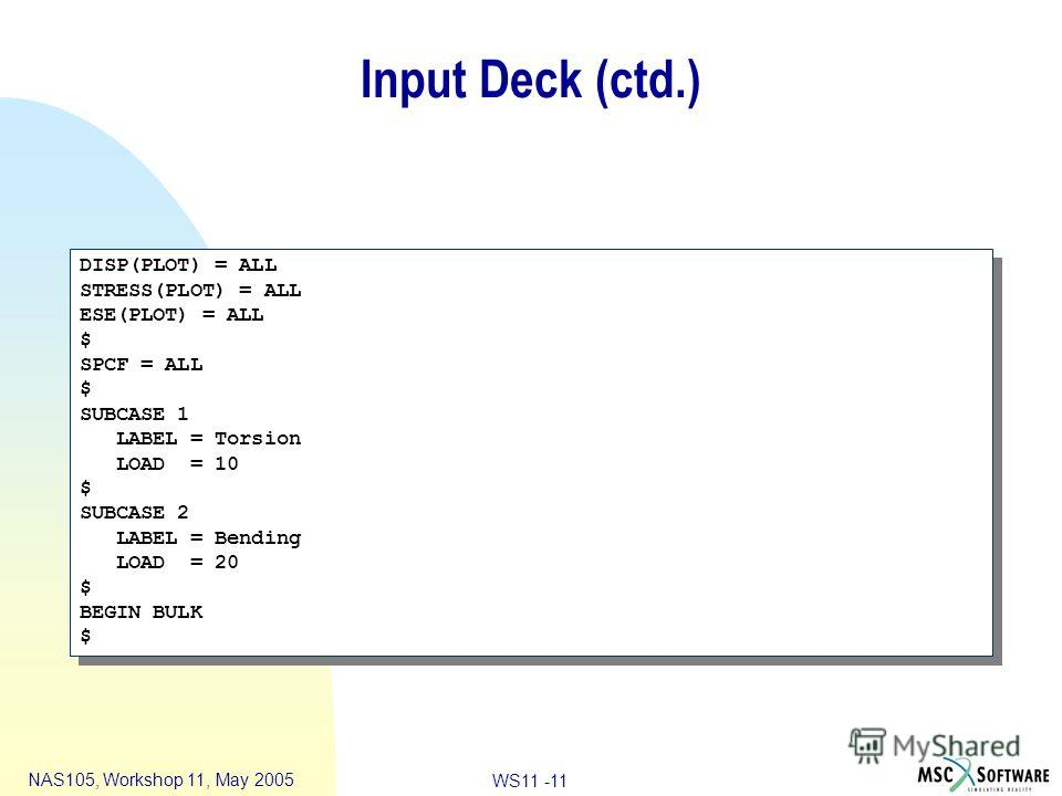 WS11 -11 NAS105, Workshop 11, May 2005 Input Deck (ctd.) DISP(PLOT) = ALL STRESS(PLOT) = ALL ESE(PLOT) = ALL $ SPCF = ALL $ SUBCASE 1 LABEL = Torsion LOAD = 10 $ SUBCASE 2 LABEL = Bending LOAD = 20 $ BEGIN BULK $ DISP(PLOT) = ALL STRESS(PLOT) = ALL E