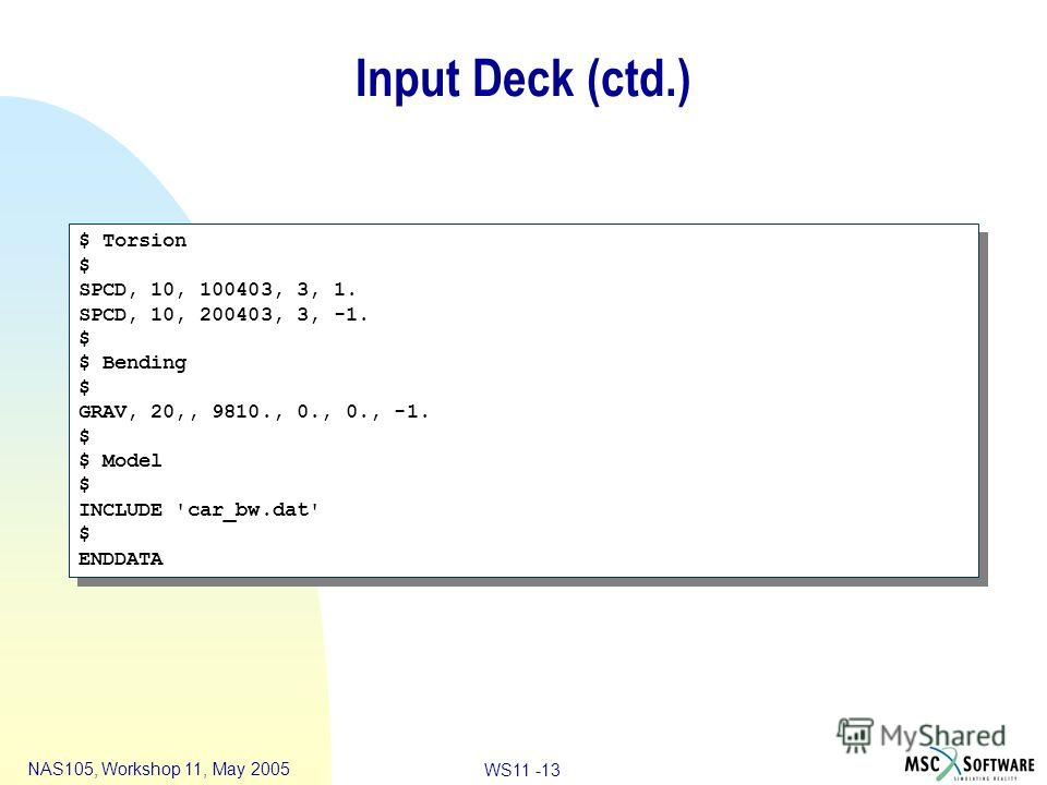 WS11 -13 NAS105, Workshop 11, May 2005 Input Deck (ctd.) $ Torsion $ SPCD, 10, 100403, 3, 1. SPCD, 10, 200403, 3, -1. $ $ Bending $ GRAV, 20,, 9810., 0., 0., -1. $ $ Model $ INCLUDE 'car_bw.dat' $ ENDDATA $ Torsion $ SPCD, 10, 100403, 3, 1. SPCD, 10,