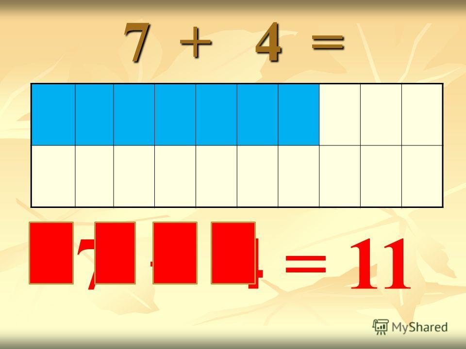 7 + 4 = 7 + 4 = 11