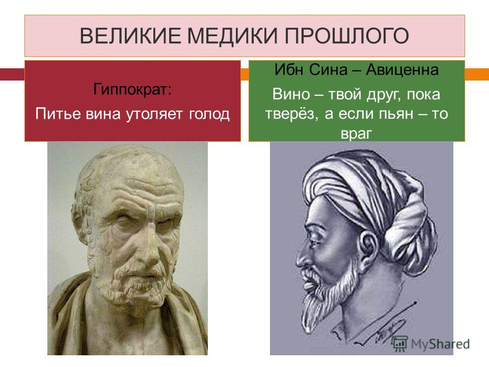 ВЕЛИКИЕ МЕДИКИ ПРОШЛОГО Гиппократ: Питье вина утоляет голод Ибн Сина – Авиценна Вино – твой друг, пока тверёз, а если пьян – то враг