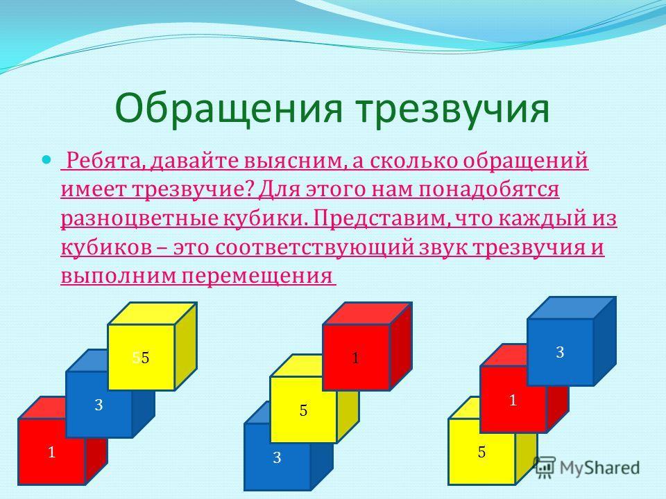 Обращения трезвучия Ребята, давайте выясним, а сколько обращений имеет трезвучие ? Для этого нам понадобятся разноцветные кубики. Представим, что каждый из кубиков – это соответствующий звук трезвучия и выполним перемещения 1 3 5 3 5 1 5 1 3