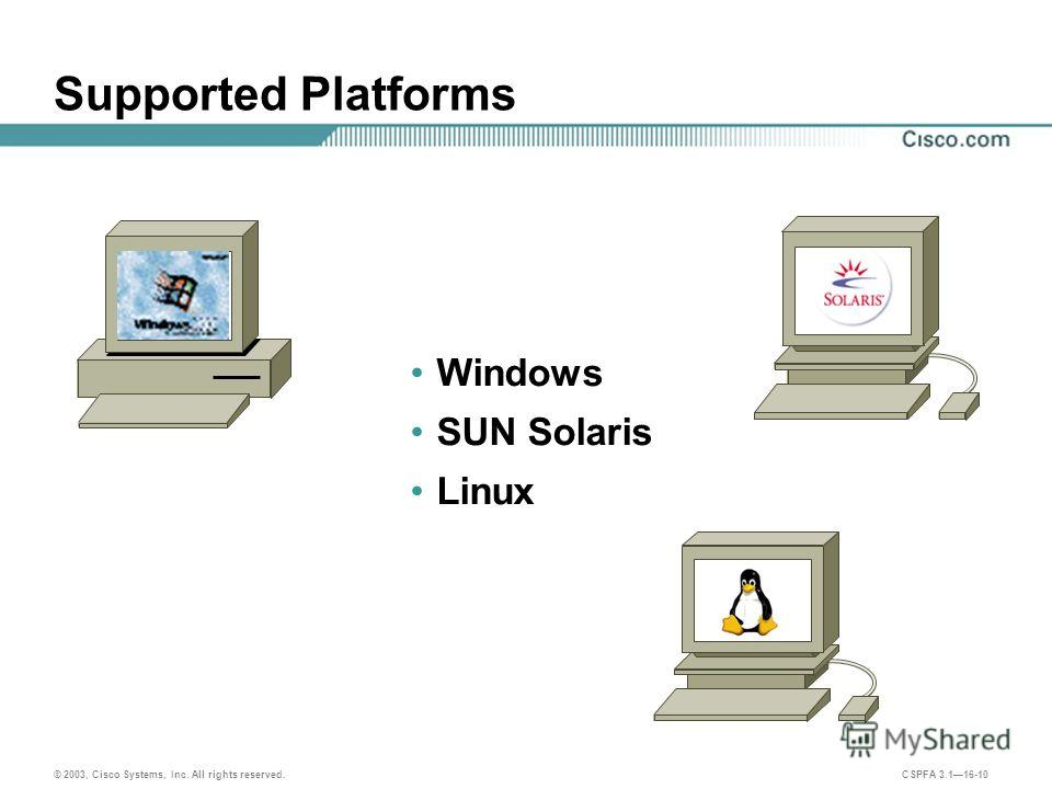 © 2003, Cisco Systems, Inc. All rights reserved. CSPFA 3.116-10 Supported Platforms Windows SUN Solaris Linux