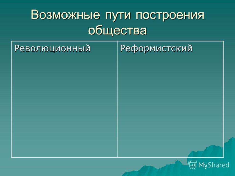 Возможные пути построения общества Революционный Реформистский