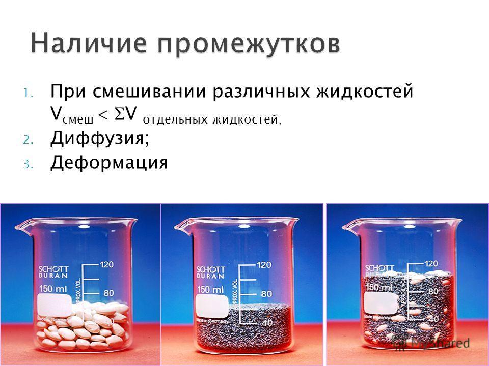 1. При смэшивании различных жидкостей V смэш V отдельных жидкостей; 2. Диффузия; 3. Деформация