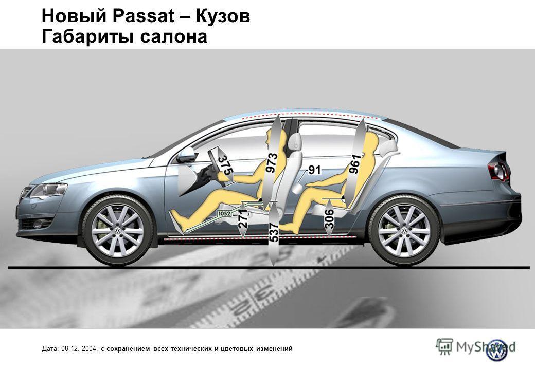 Новый Passat – Кузов Габариты салона Дата: 08.12. 2004, с сохранением всех технических и цветовых изменений