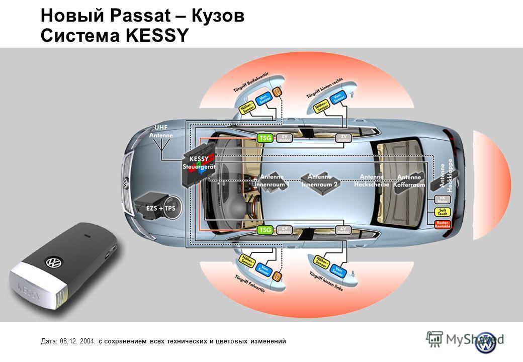 Новый Passat – Кузов Система KESSY Дата: 08.12. 2004, с сохранением всех технических и цветовых изменений