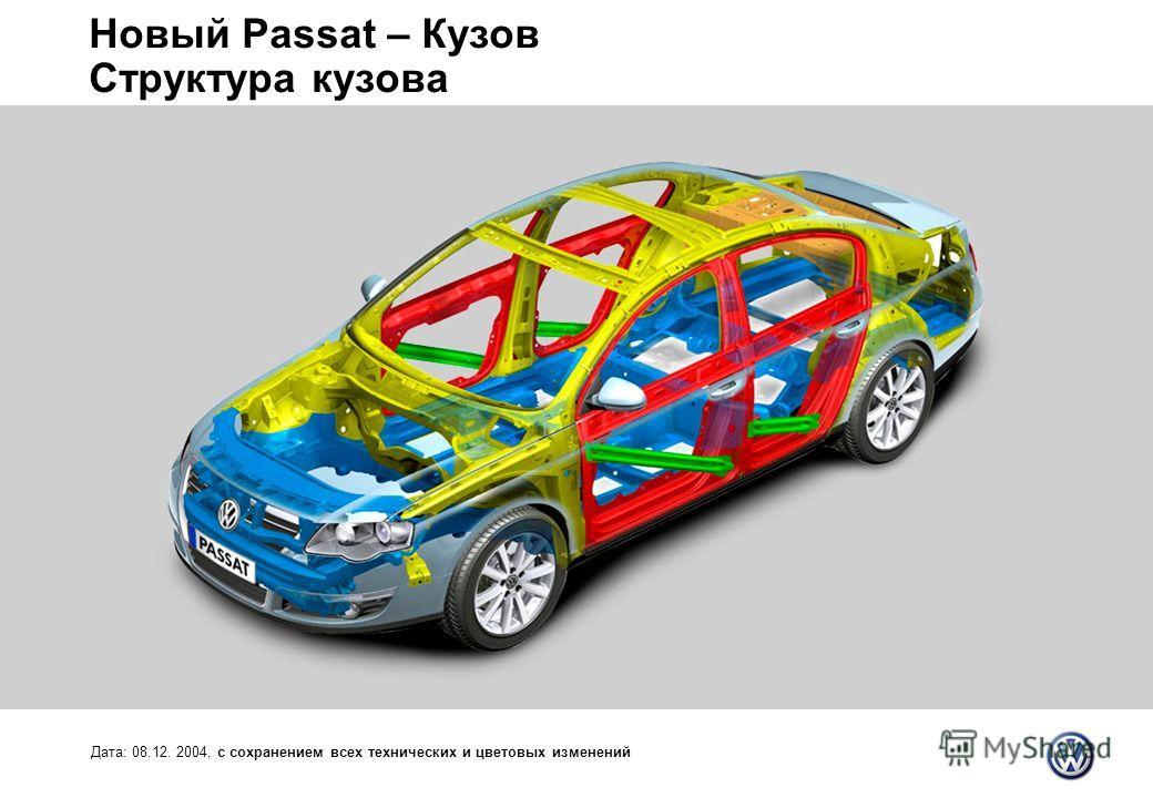 Новый Passat – Кузов Структура кузова Дата: 08.12. 2004, с сохранением всех технических и цветовых изменений