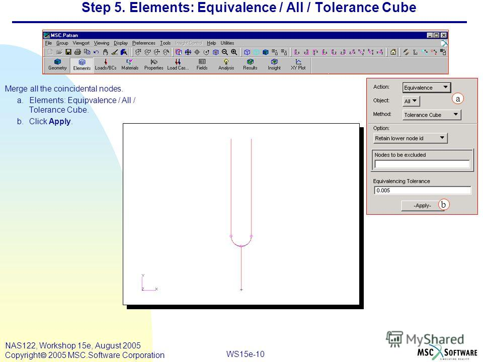 WS15e-10 NAS122, Workshop 15e, August 2005 Copyright 2005 MSC.Software Corporation Step 5. Elements: Equivalence / All / Tolerance Cube Merge all the coincidental nodes. a.Elements: Equipvalence / All / Tolerance Cube. b.Click Apply. a b