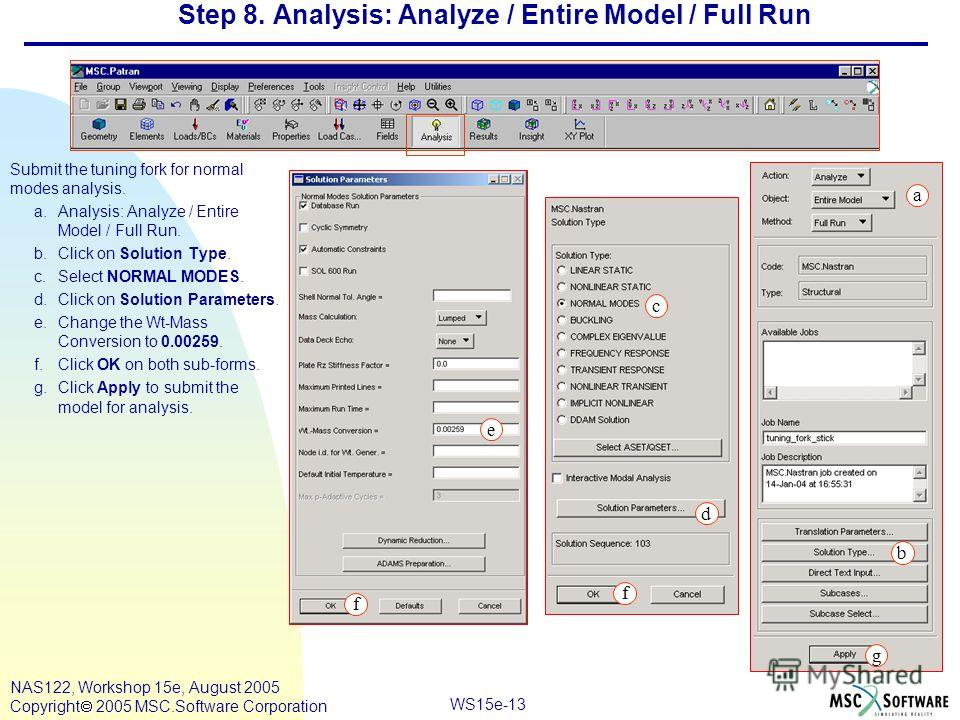 WS15e-13 NAS122, Workshop 15e, August 2005 Copyright 2005 MSC.Software Corporation Step 8. Analysis: Analyze / Entire Model / Full Run Submit the tuning fork for normal modes analysis. a.Analysis: Analyze / Entire Model / Full Run. b.Click on Solutio