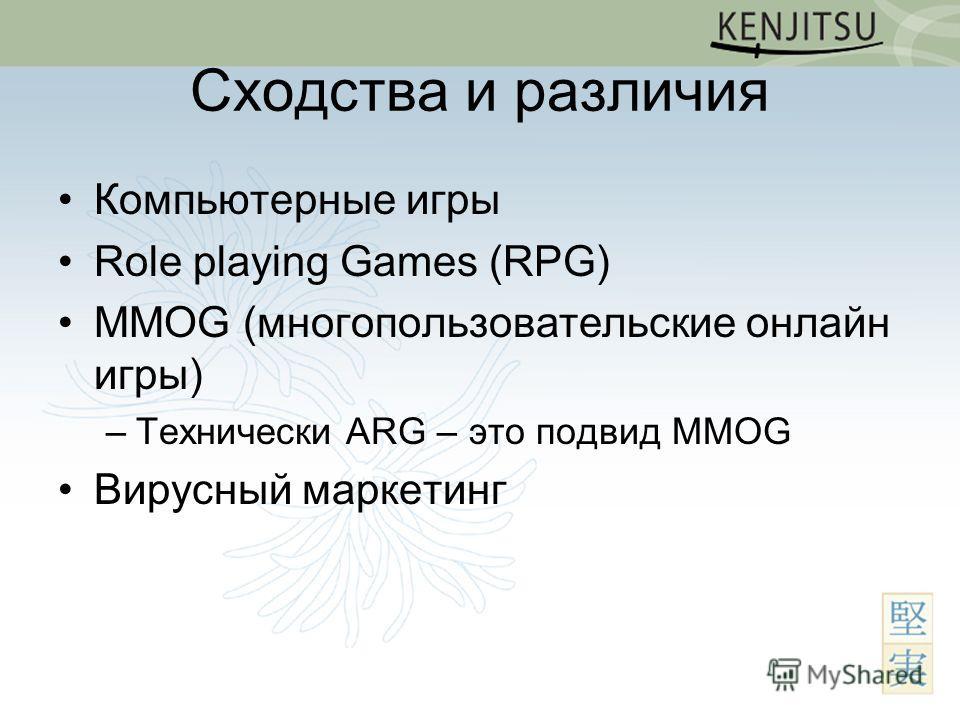 Сходства и различия Компьютерные игры Role playing Games (RPG) MMOG (многопользовательские онлайн игры) –Технически ARG – это подвид MMOG Вирусный маркетинг