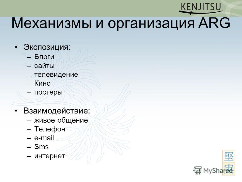 Механизмы и организация ARG Экспозиция: –Блоги –сайты –телевидение –Кино –постеры Взаимодействие: –живое общение –Телефон –e-mail –Sms –интернет