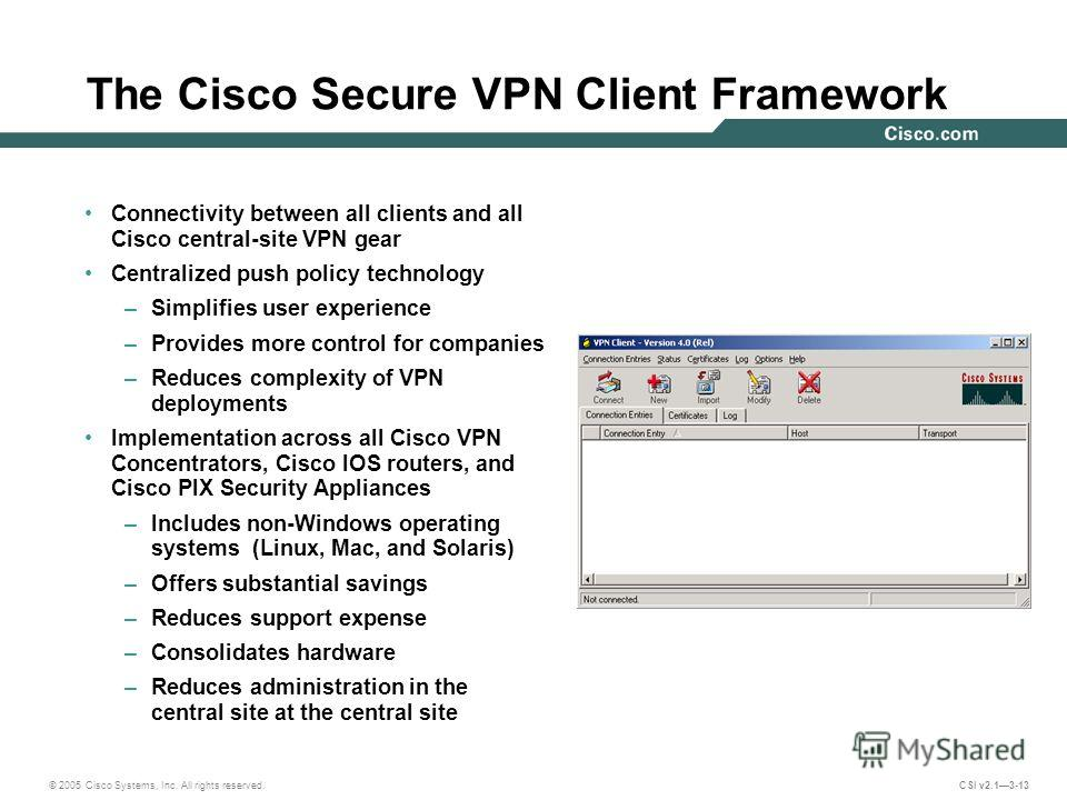 © 2005 Cisco Systems, Inc. All rights reserved. CSI v2.13-13 The Cisco Secure VPN Client Framework Connectivity between all clients and all Cisco central-site VPN gear Centralized push policy technology –Simplifies user experience –Provides more cont
