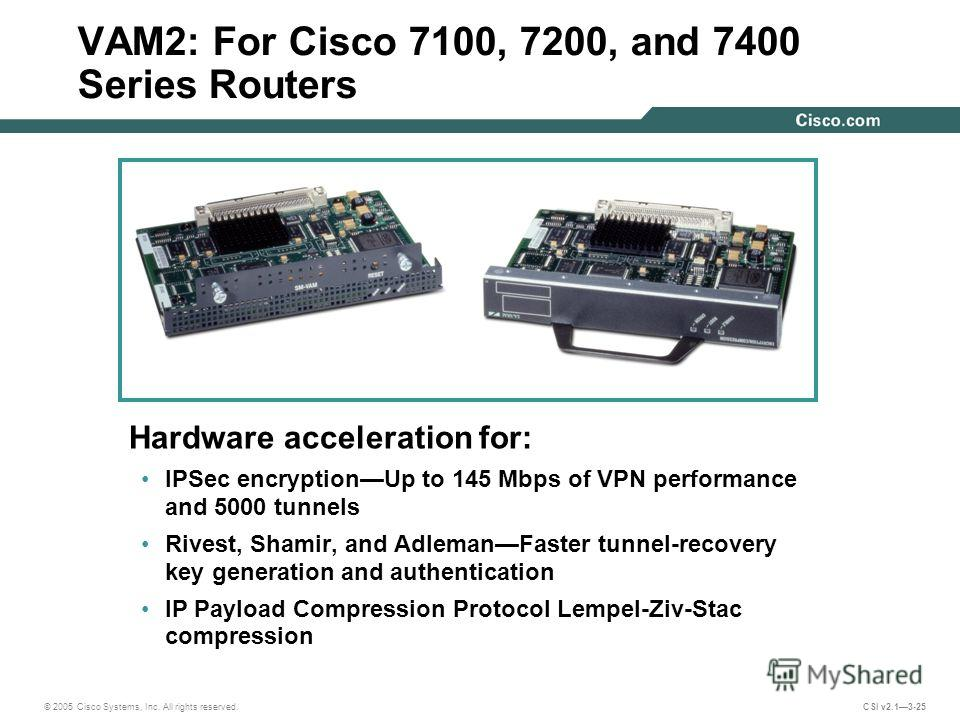 © 2005 Cisco Systems, Inc. All rights reserved. CSI v2.13-25 VAM2: For Cisco 7100, 7200, and 7400 Series Routers Hardware acceleration for: IPSec encryptionUp to 145 Mbps of VPN performance and 5000 tunnels Rivest, Shamir, and AdlemanFaster tunnel-re