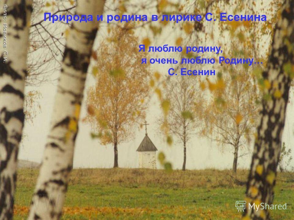 Природа и родина в лирике С. Есенина Я люблю родину, я очень люблю Родину… С. Есенин