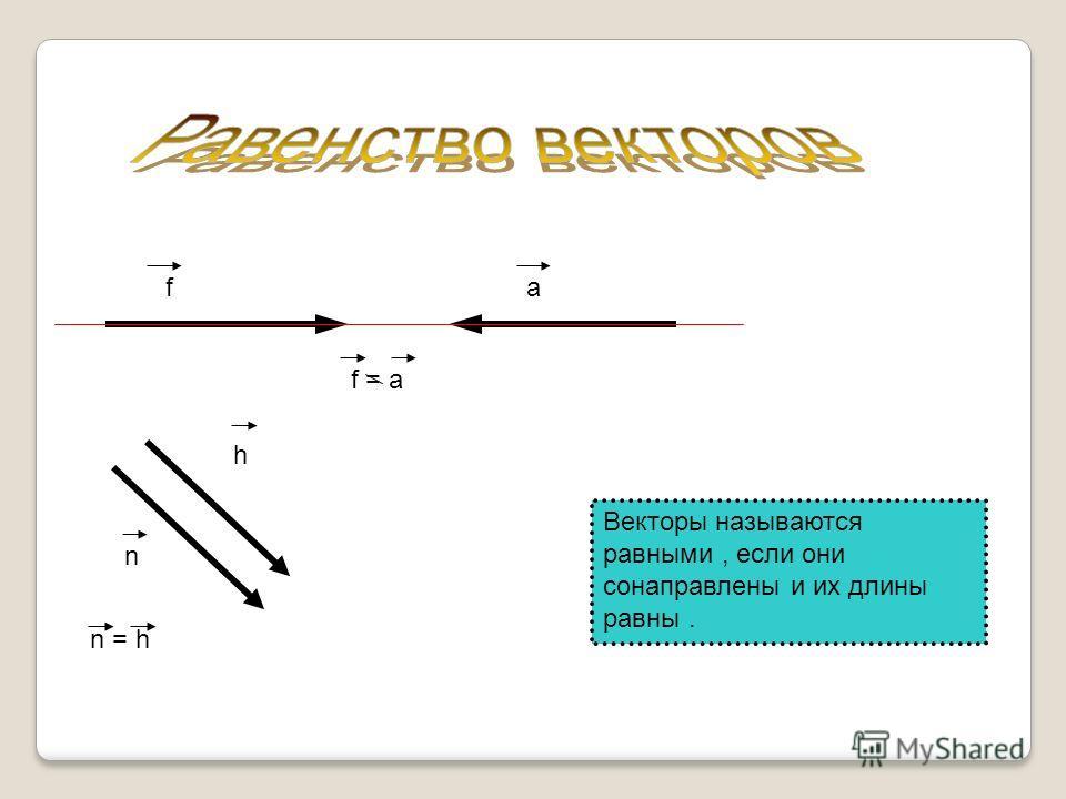 От любой точки можно отложить вектор равный данному, притом только один. g fMB f = g