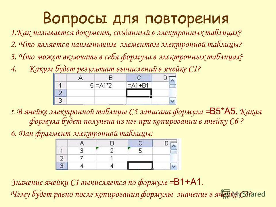 Вопросы для повторения 1. Как называется документ, созданный в электронных таблицах? 2. Что является наименьшим элементом электронной таблицы? 3. Что может включать в себя формула в электронных таблицах? 4. Каким будет результат вычислений в ячейке С