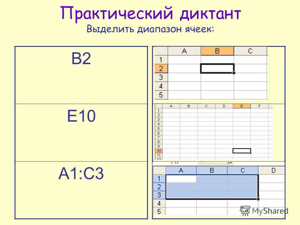 Практический диктант Выделить диапазон ячеек: В2 Е10 А1:С3