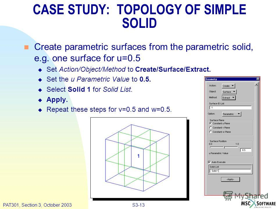 S3-13PAT301, Section 3, October 2003 CASE STUDY: TOPOLOGY OF SIMPLE SOLID n Create parametric surfaces from the parametric solid, e.g. one surface for u=0.5 u Set Action/Object/Method to Create/Surface/Extract. u Set the u Parametric Value to 0.5. u