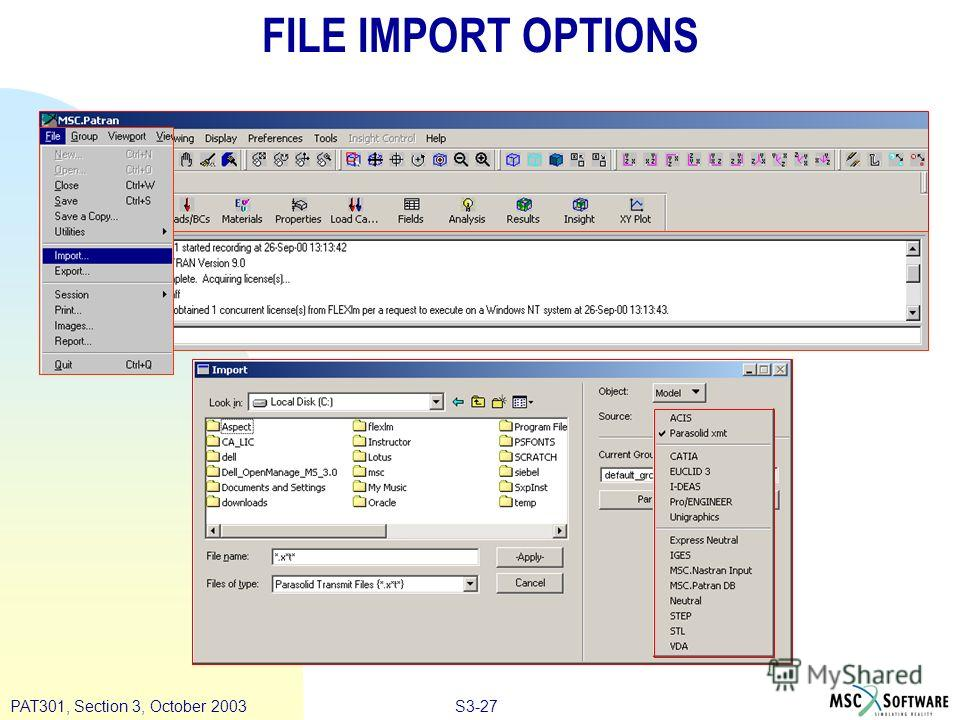 S3-27PAT301, Section 3, October 2003 FILE IMPORT OPTIONS