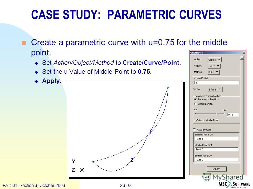 S3-62PAT301, Section 3, October 2003 n Create a parametric curve with u=0.75 for the middle point. u Set Action/Object/Method to Create/Curve/Point. u Set the u Value of Middle Point to 0.75. u Apply. CASE STUDY: PARAMETRIC CURVES