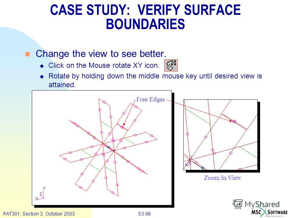 S3-98PAT301, Section 3, October 2003 n Change the view to see better. u Click on the Mouse rotate XY icon. u Rotate by holding down the middle mouse key until desired view is attained. CASE STUDY: VERIFY SURFACE BOUNDARIES Free Edges Zoom In View