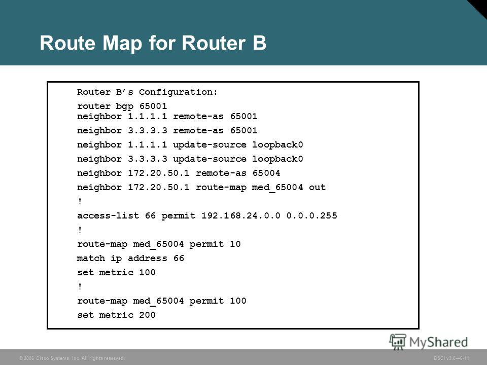 © 2006 Cisco Systems, Inc. All rights reserved. BSCI v3.06-11 Route Map for Router B Router Bs Configuration: router bgp 65001 neighbor 1.1.1.1 remote-as 65001 neighbor 3.3.3.3 remote-as 65001 neighbor 1.1.1.1 update-source loopback0 neighbor 3.3.3.3