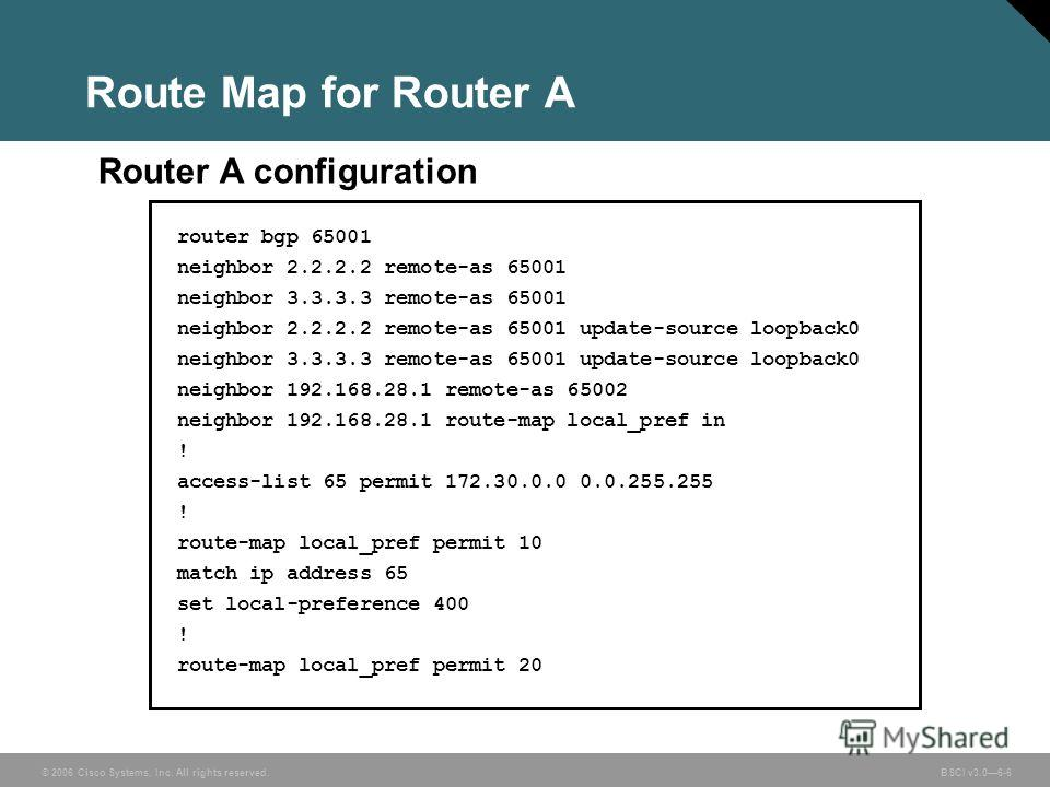 © 2006 Cisco Systems, Inc. All rights reserved. BSCI v3.06-6 Route Map for Router A router bgp 65001 neighbor 2.2.2.2 remote-as 65001 neighbor 3.3.3.3 remote-as 65001 neighbor 2.2.2.2 remote-as 65001 update-source loopback0 neighbor 3.3.3.3 remote-as