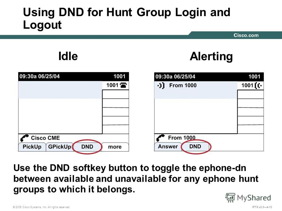 © 2005 Cisco Systems, Inc. All rights reserved. IPTX v2.04-13 Using DND for Hunt Group Login and Logout Use the DND softkey button to toggle the ephone-dn between available and unavailable for any ephone hunt groups to which it belongs. Idle Alerting