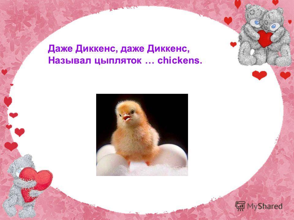 Даже Диккенс, даже Диккенс, Называл цыпляток … chickens.