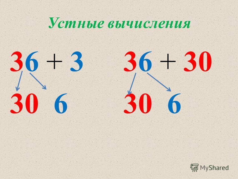 Устные вычисления 36 + 3 30 6 36 + 30 30 6