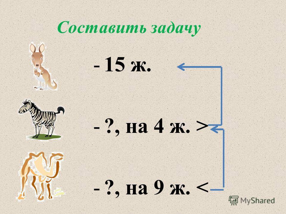 Составить задачу -15 ж. -?, на 4 ж. > -?, на 9 ж.