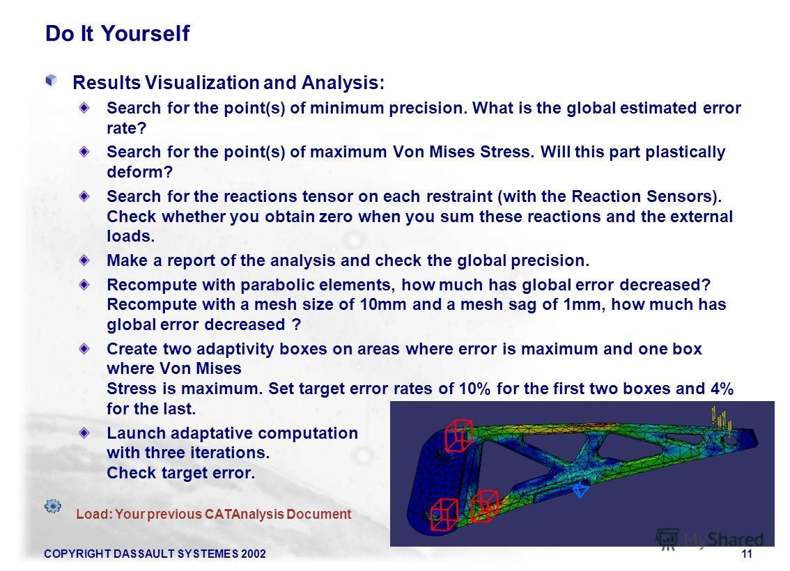 COPYRIGHT DASSAULT SYSTEMES 200211 Do It Yourself Results Visualization and Analysis: Search for the point(s) of minimum precision. What is the global estimated error rate? Search for the point(s) of maximum Von Mises Stress. Will this part plastical