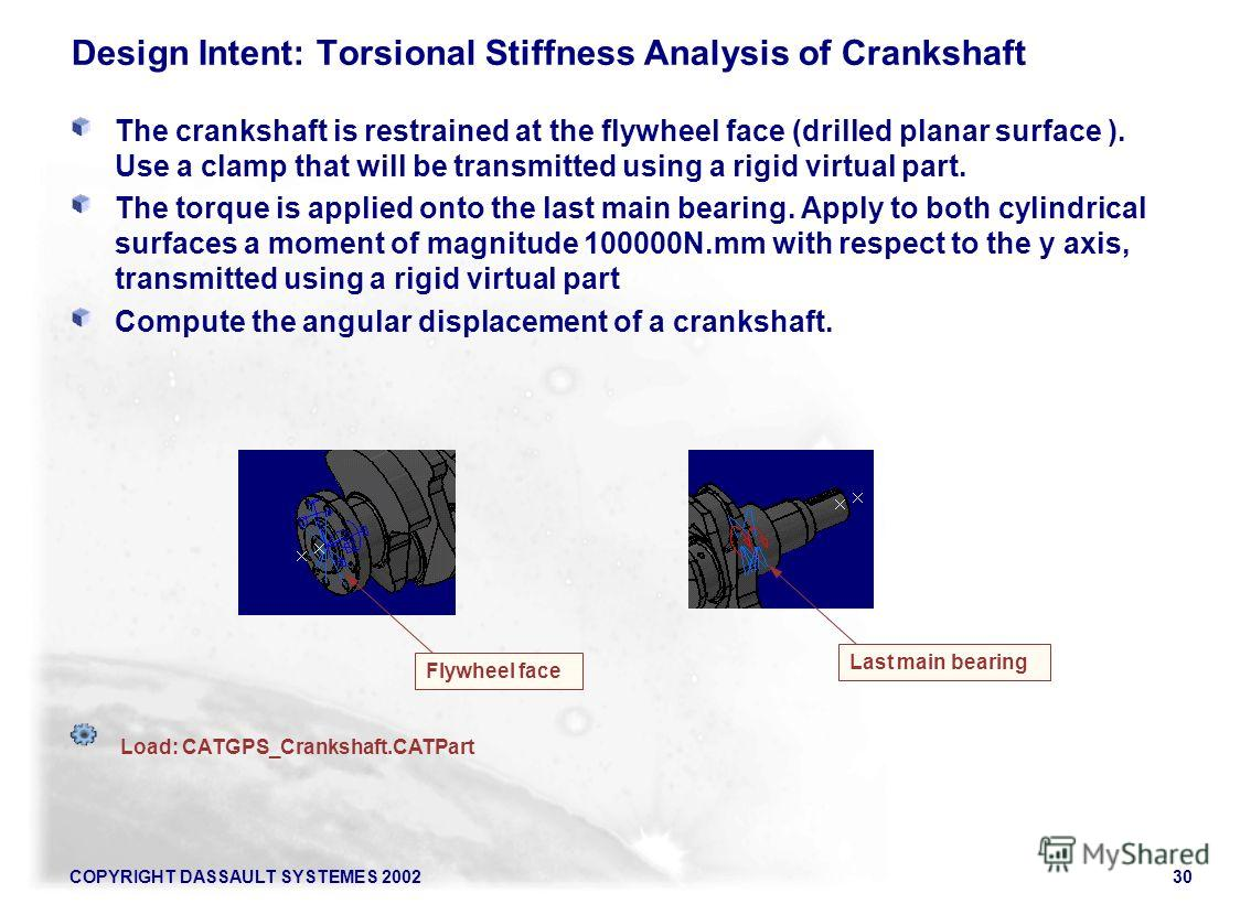COPYRIGHT DASSAULT SYSTEMES 200230 Design Intent: Torsional Stiffness Analysis of Crankshaft The crankshaft is restrained at the flywheel face (drilled planar surface ). Use a clamp that will be transmitted using a rigid virtual part. The torque is a