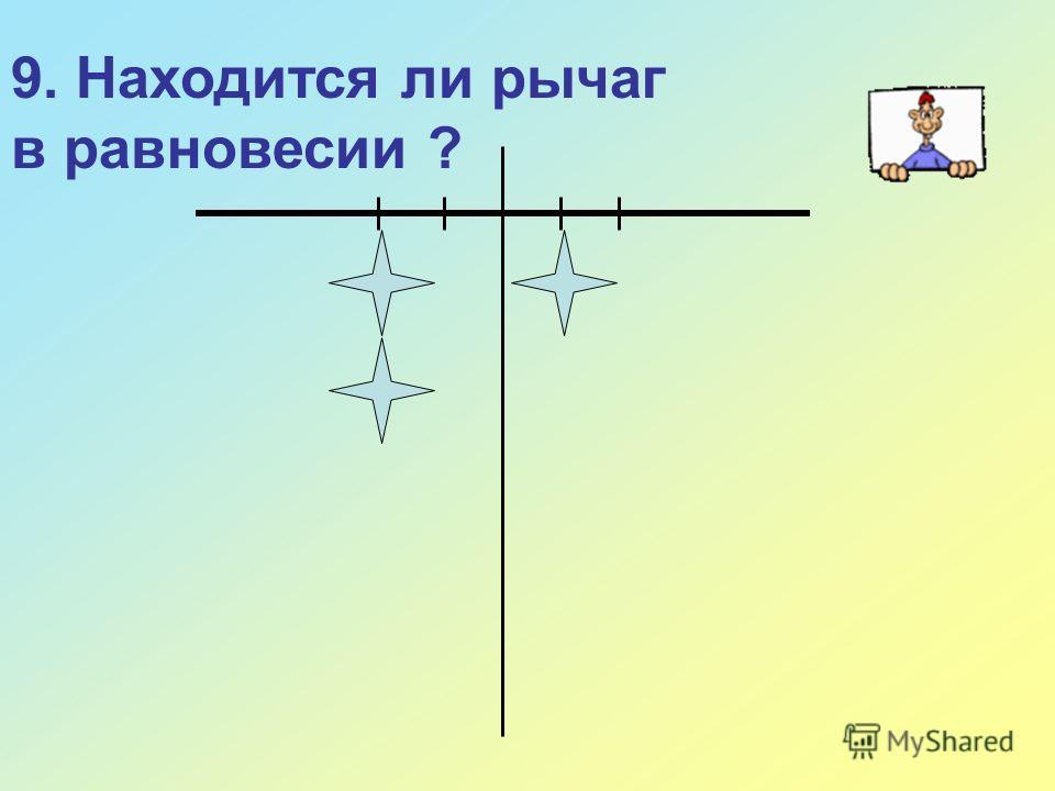 9. Находится ли рычаг в равновесии ?