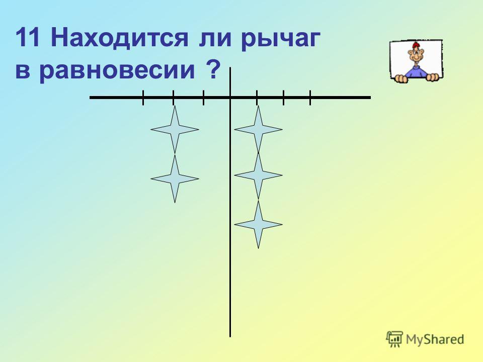 11 Находится ли рычаг в равновесии ?